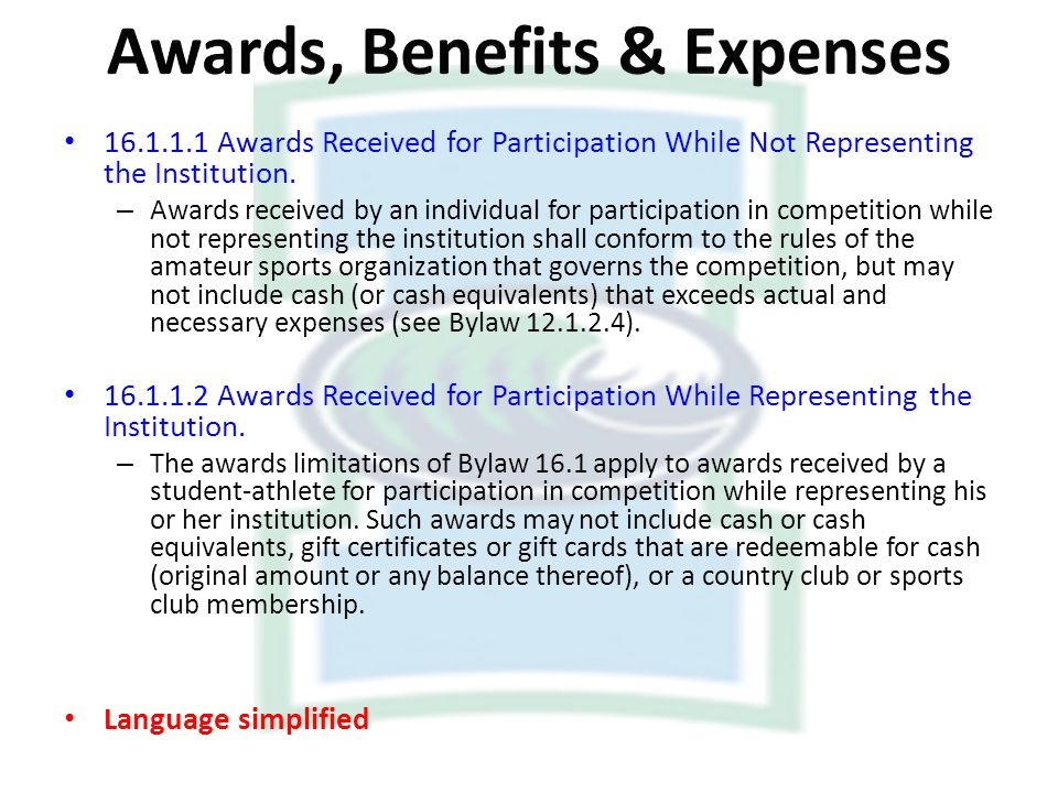 16.1.1.1 Awards Received for Participation While Not Representing the Institution. – Awards received by an individual for participation in competition