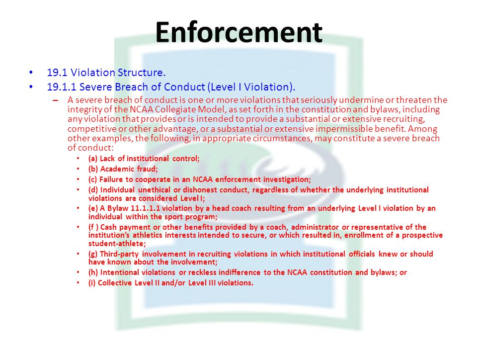 19.1 Violation Structure. 19.1.1 Severe Breach of Conduct (Level I Violation). – A severe breach of conduct is one or more violations that seriously u