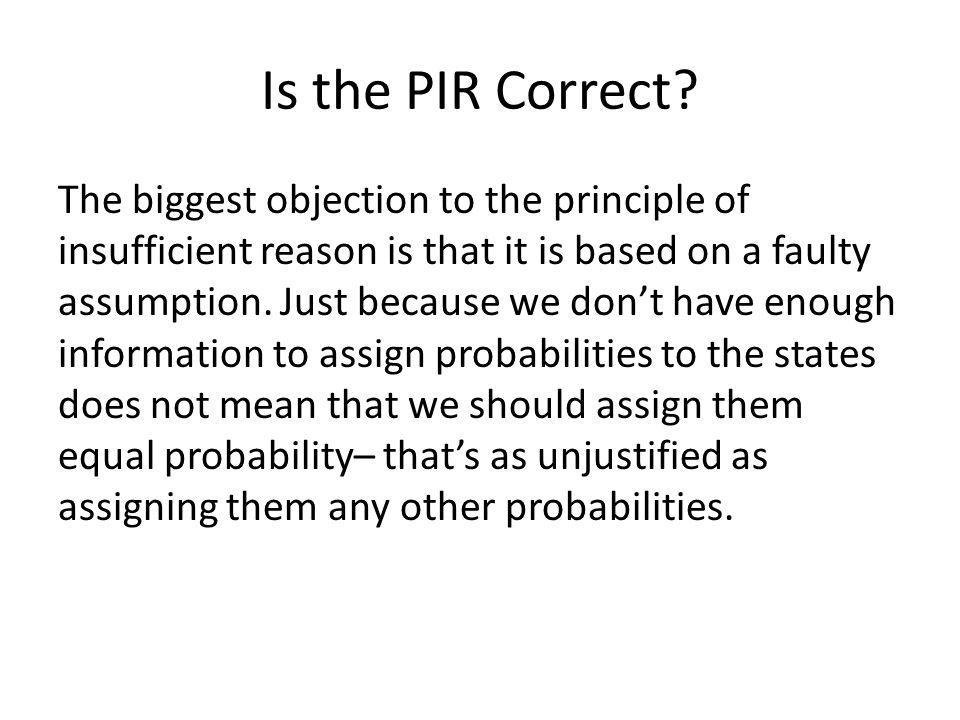 Is the PIR Correct.