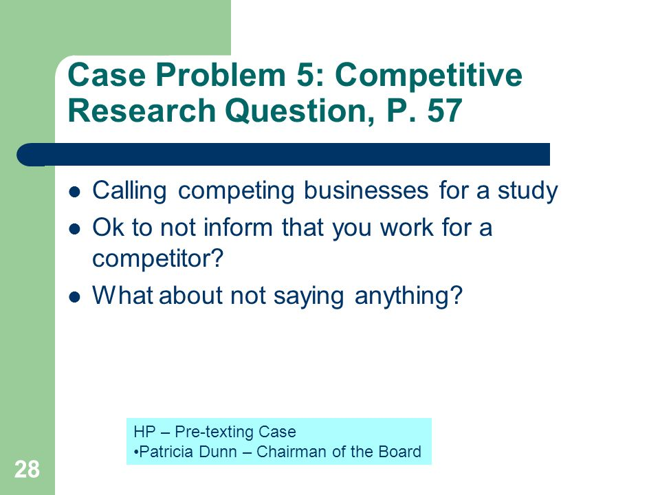 Case Problem 5: Competitive Research Question, P. 57 Calling competing businesses for a study Ok to not inform that you work for a competitor? What ab