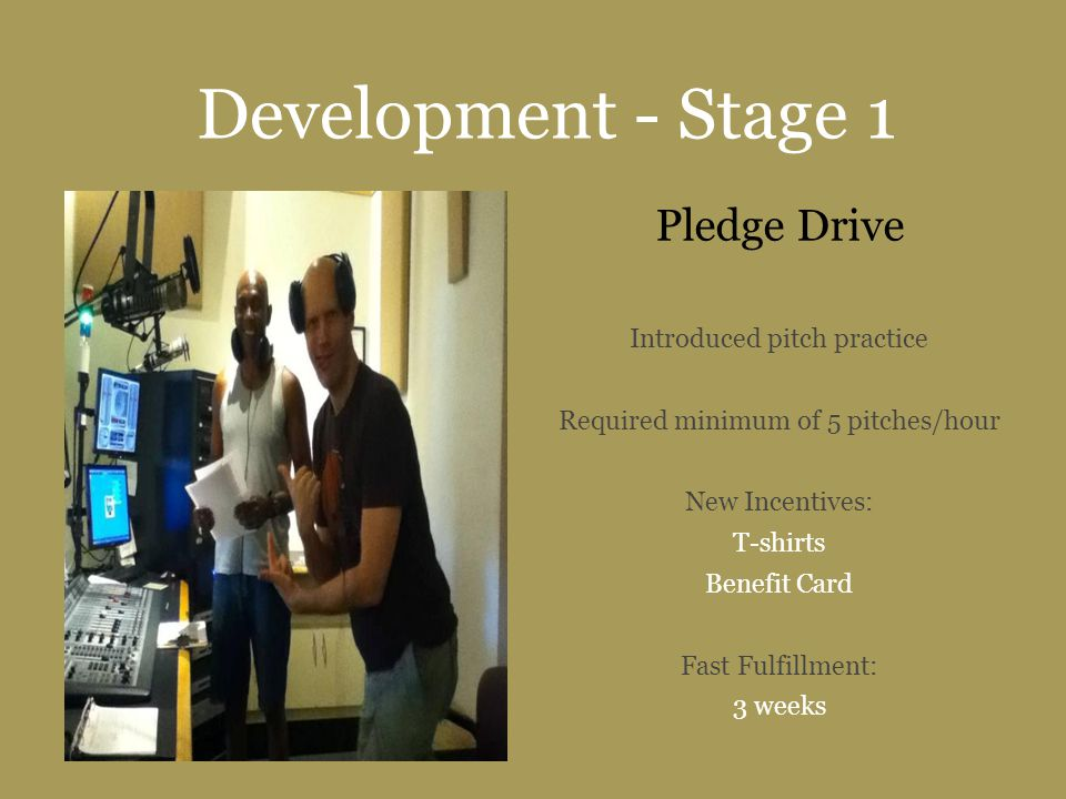Development - Stage 1 Pledge Drive Introduced pitch practice Required minimum of 5 pitches/hour New Incentives: T-shirts Benefit Card Fast Fulfillment