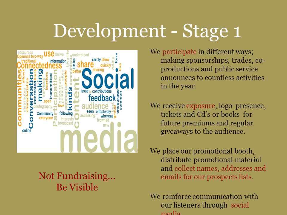 Development - Stage 1 We participate in different ways; making sponsorships, trades, co- productions and public service announces to countless activit