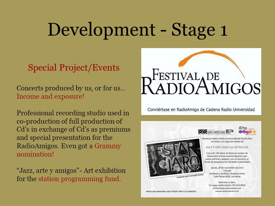 Development - Stage 1 Special Project/Events Concerts produced by us, or for us… Income and exposure! Professional recording studio used in co-product