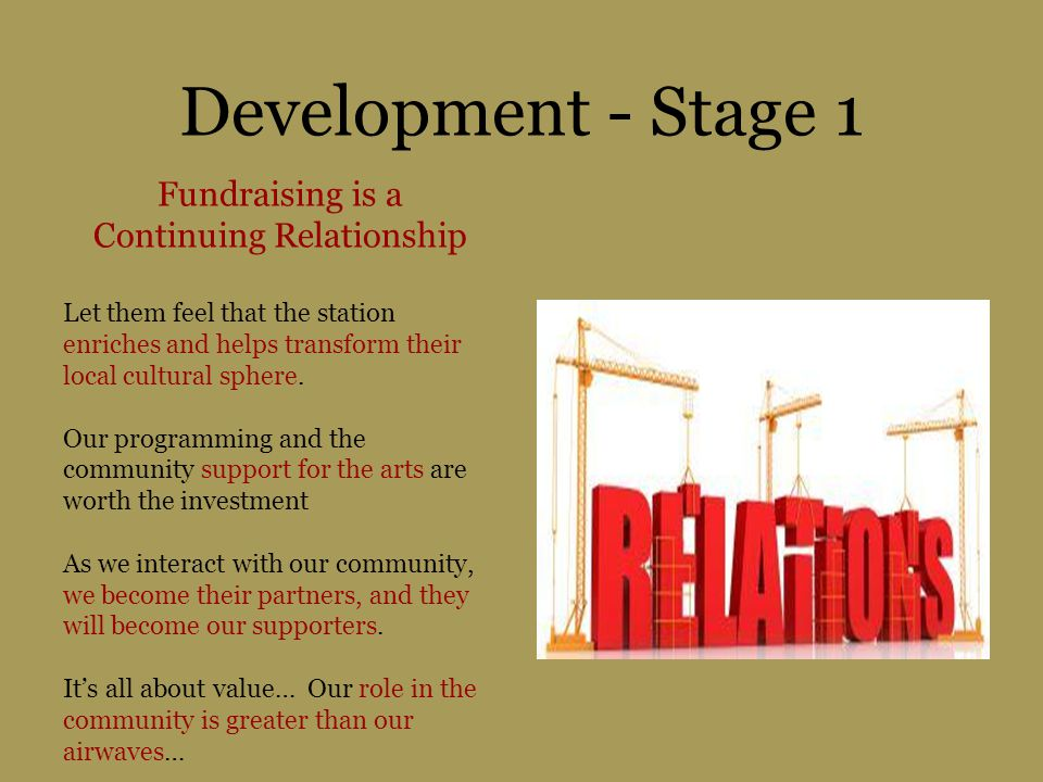 Development - Stage 1 Fundraising is a Continuing Relationship Let them feel that the station enriches and helps transform their local cultural sphere