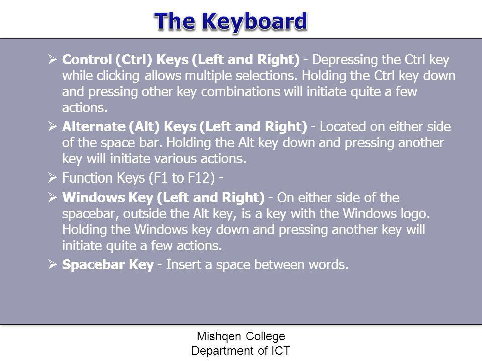Control (Ctrl) Keys (Left and Right) - Depressing the Ctrl key while clicking allows multiple selections. Holding the Ctrl key down and pressing other