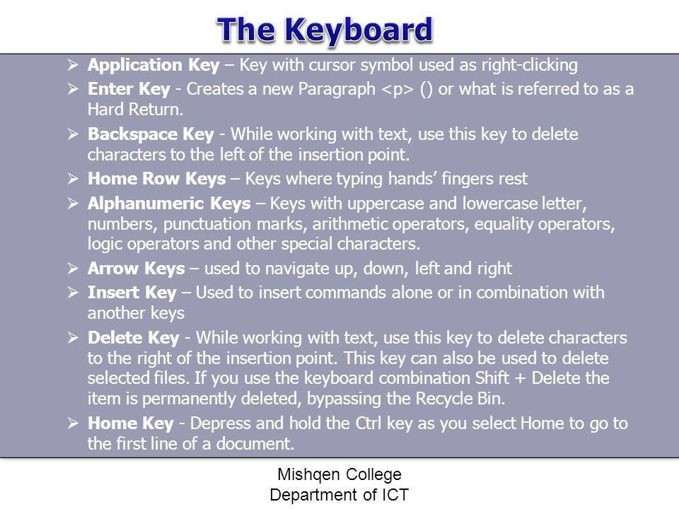 Application Key – Key with cursor symbol used as right-clicking Enter Key - Creates a new Paragraph () or what is referred to as a Hard Return. Backsp
