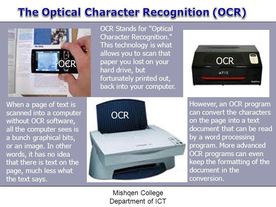 OCR OCR Stands for