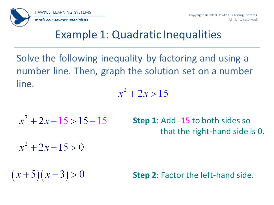 HAWKES LEARNING SYSTEMS math courseware specialists Copyright © 2010 Hawkes Learning Systems. All rights reserved. Example 1: Quadratic Inequalities S