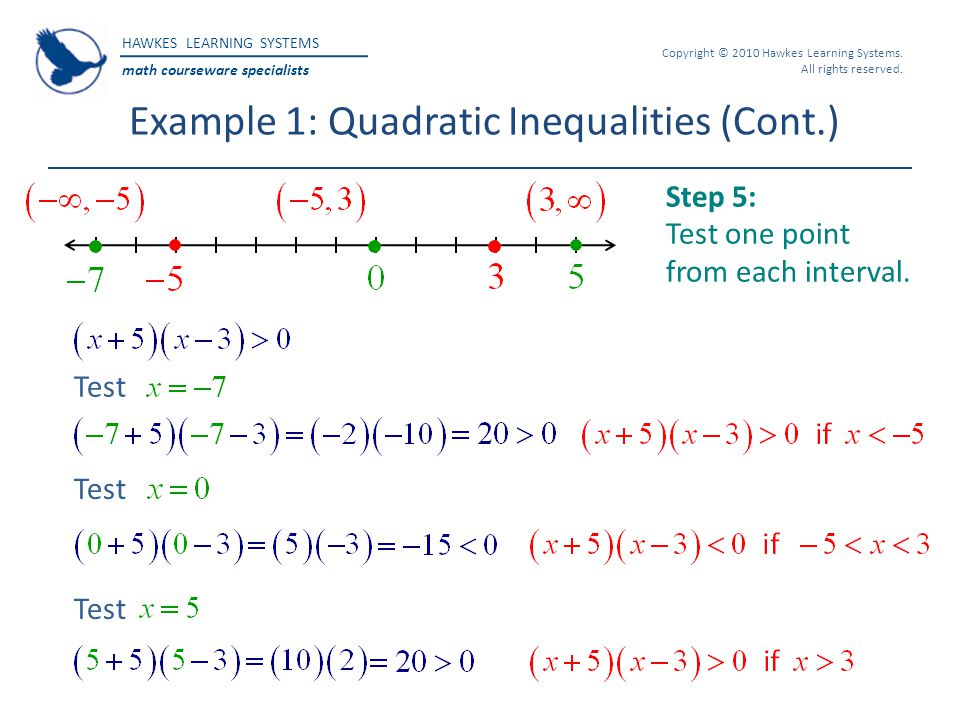 HAWKES LEARNING SYSTEMS math courseware specialists Copyright © 2010 Hawkes Learning Systems. All rights reserved. Example 1: Quadratic Inequalities (