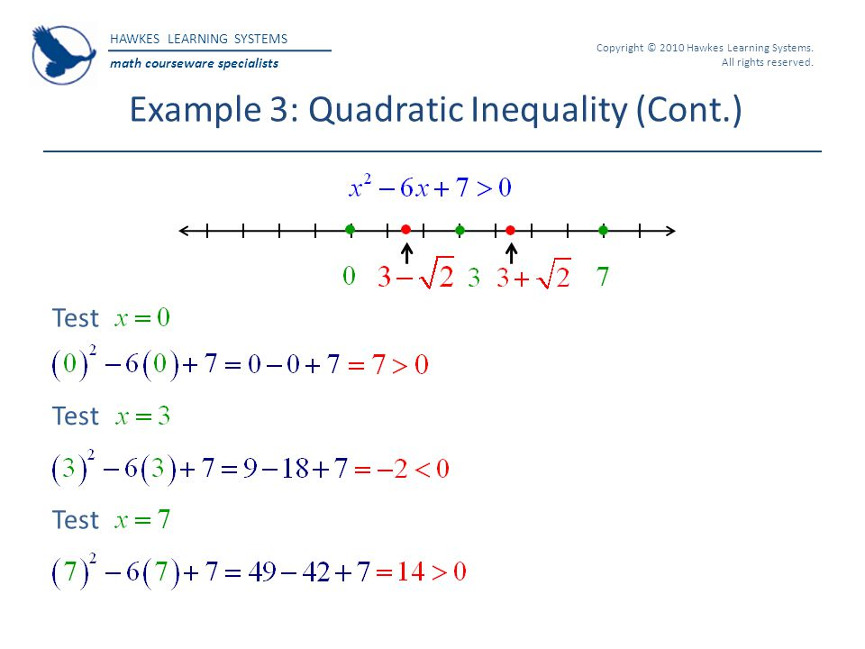 HAWKES LEARNING SYSTEMS math courseware specialists Copyright © 2010 Hawkes Learning Systems. All rights reserved. Example 3: Quadratic Inequality (Co