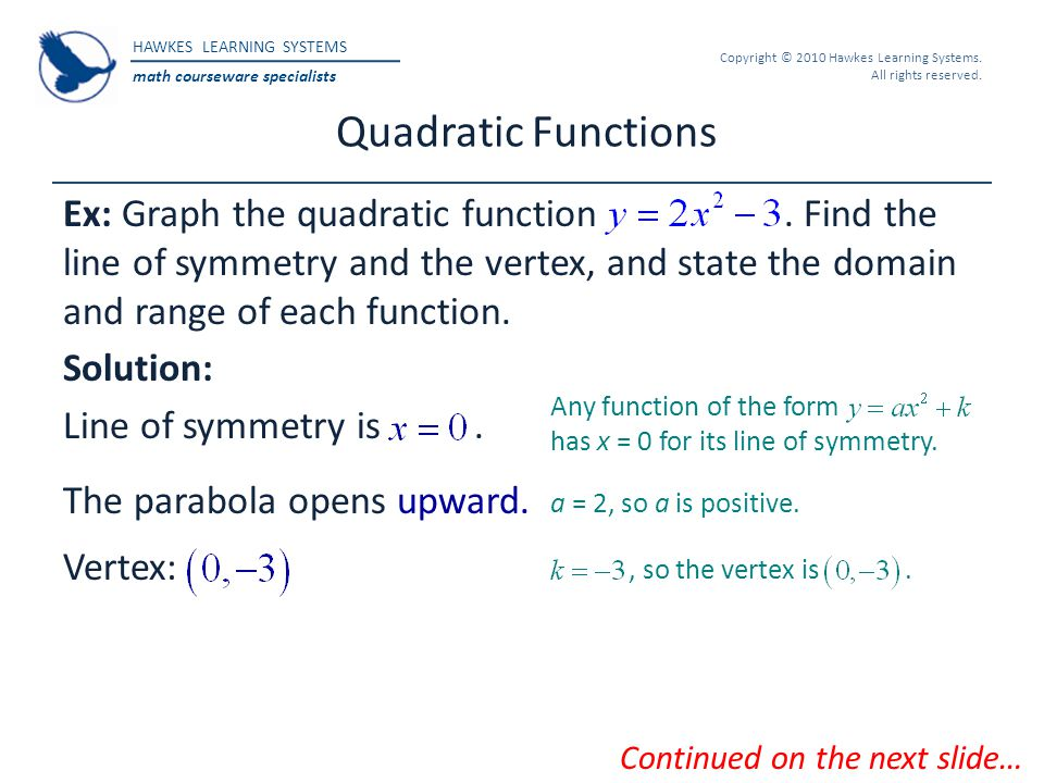HAWKES LEARNING SYSTEMS math courseware specialists Copyright © 2010 Hawkes Learning Systems. All rights reserved. Quadratic Functions Ex: Graph the q