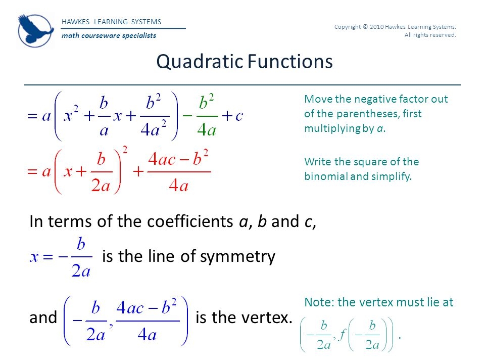 HAWKES LEARNING SYSTEMS math courseware specialists Copyright © 2010 Hawkes Learning Systems. All rights reserved. Quadratic Functions Note: the verte