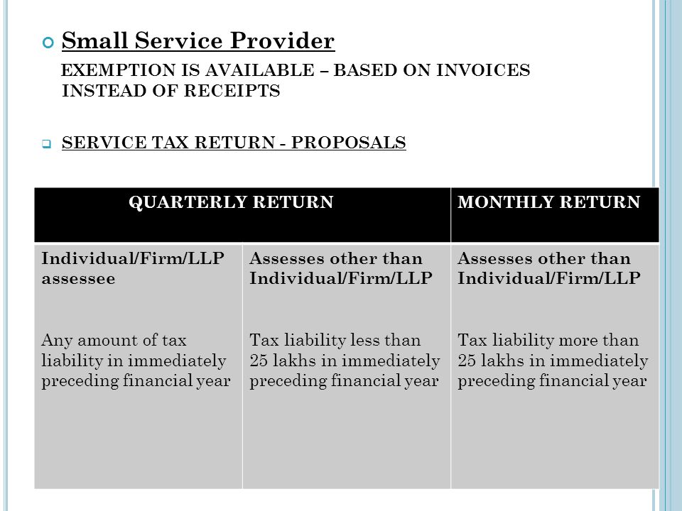 Small Service Provider EXEMPTION IS AVAILABLE – BASED ON INVOICES INSTEAD OF RECEIPTS SERVICE TAX RETURN - PROPOSALS QUARTERLY RETURNMONTHLY RETURN In