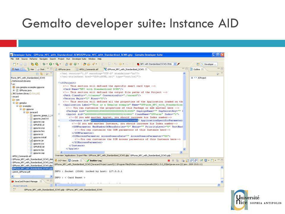 Gemalto developer suite: Instance AID