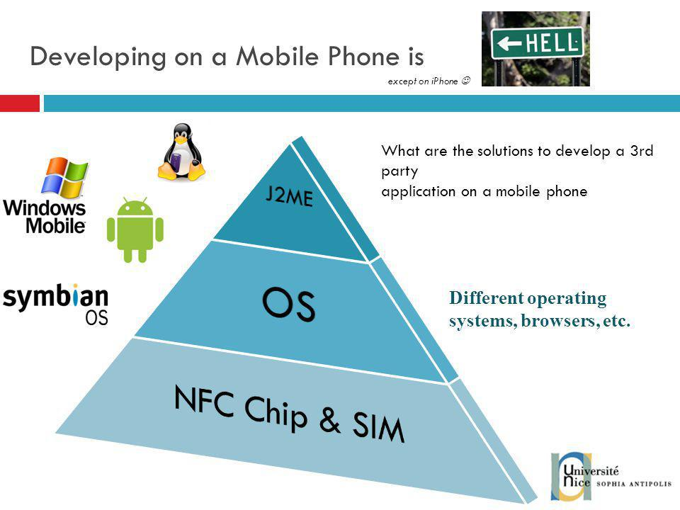 Developing on a Mobile Phone is Different operating systems, browsers, etc.