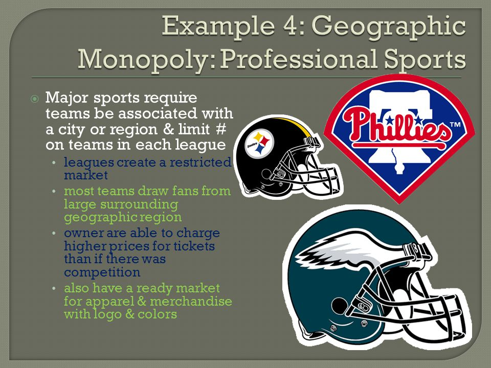 Major sports require teams be associated with a city or region & limit # on teams in each league leagues create a restricted market most teams draw fa