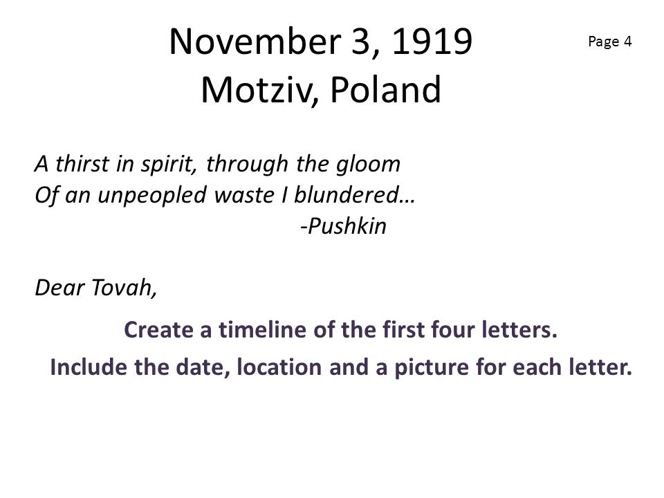 November 3, 1919 Motziv, Poland Create a timeline of the first four letters. Include the date, location and a picture for each letter. A thirst in spi