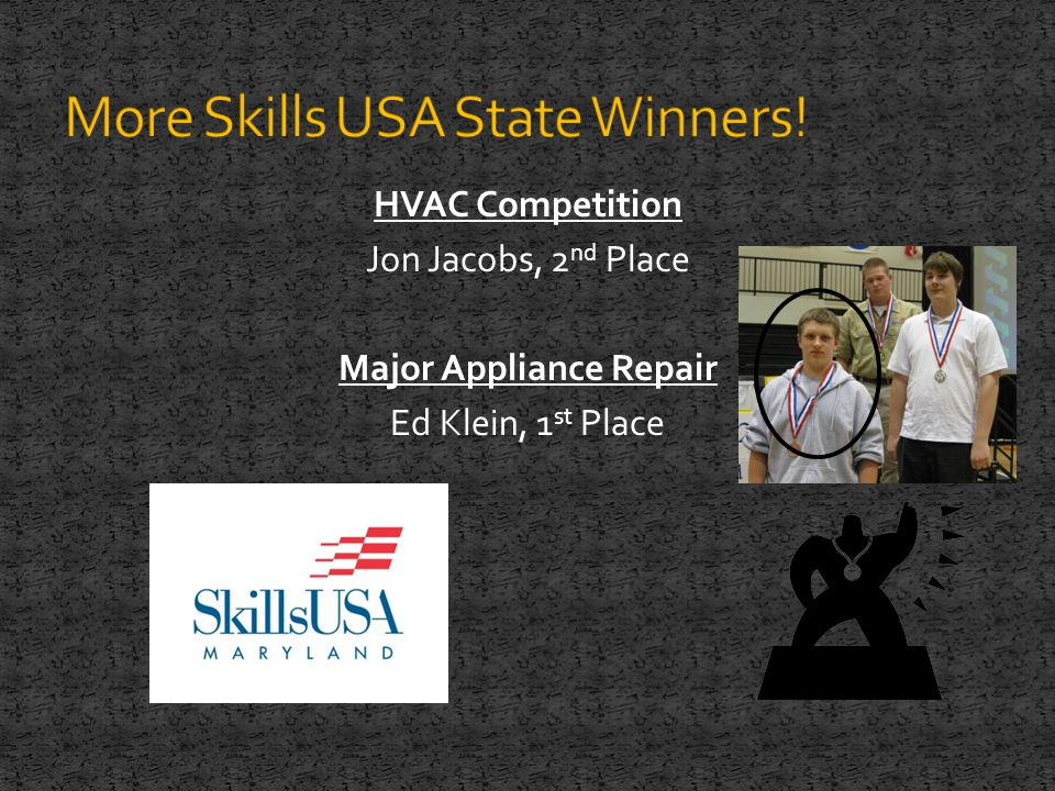 HVAC Competition Jon Jacobs, 2 nd Place Major Appliance Repair Ed Klein, 1 st Place