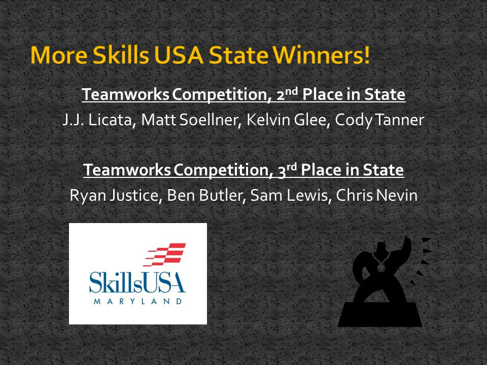 Teamworks Competition, 2 nd Place in State J.J.