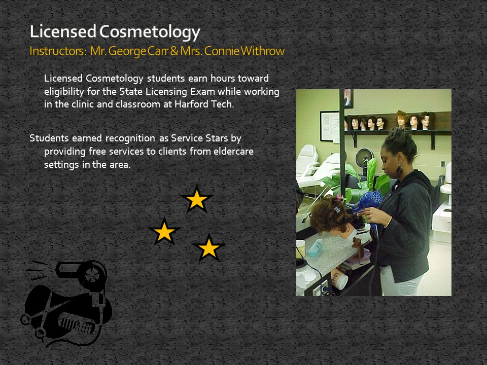 Licensed Cosmetology students earn hours toward eligibility for the State Licensing Exam while working in the clinic and classroom at Harford Tech.
