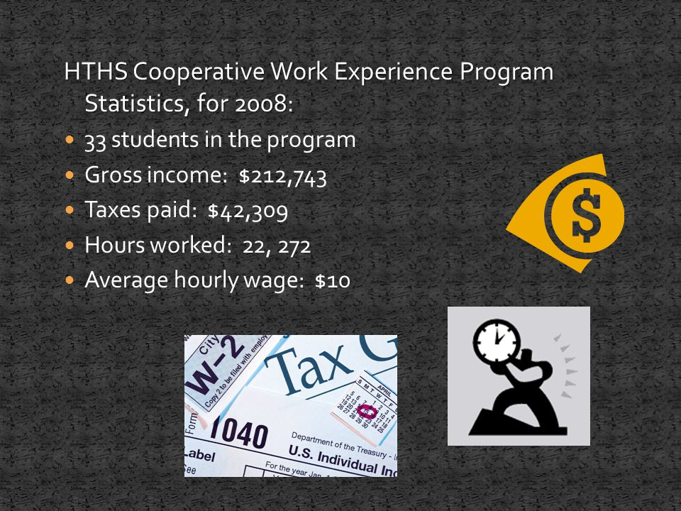 HTHS Cooperative Work Experience Program Statistics, for 2008: 33 students in the program Gross income: $212,743 Taxes paid: $42,309 Hours worked: 22, 272 Average hourly wage: $10