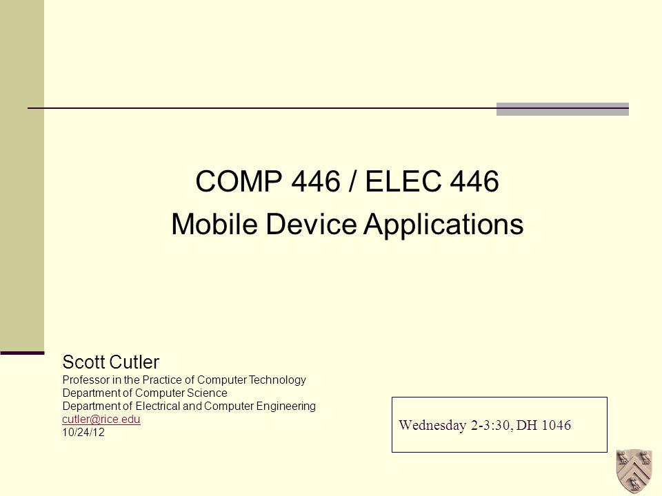 Agenda Events of the Week HTML 5 Final Project Status SEC - 10/24/12 COMP 446 / ELEC 446 - Week 102