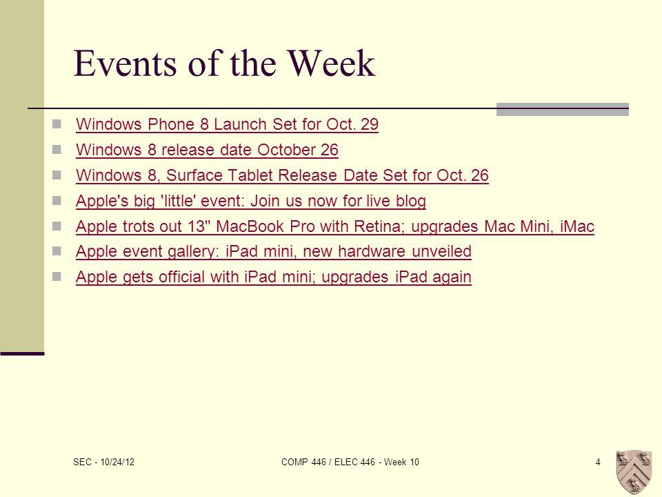 iOS 6 SEC - 10/24/12 COMP 446 / ELEC 446 - Week 1015