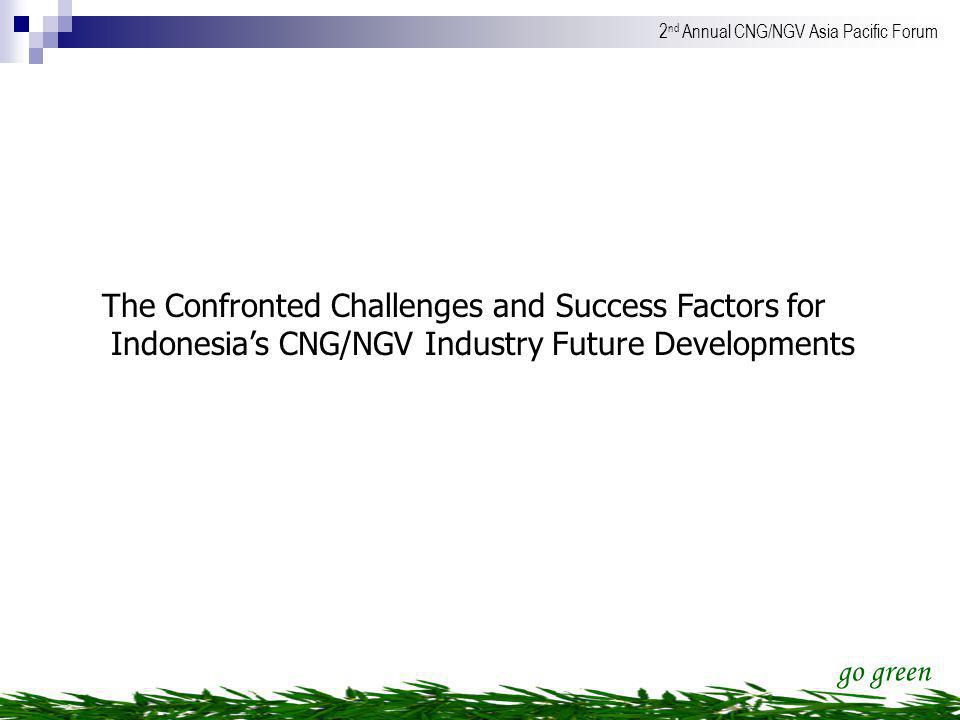 go green 2 nd Annual CNG/NGV Asia Pacific Forum The Confronted Challenges and Success Factors for Indonesias CNG/NGV Industry Future Developments