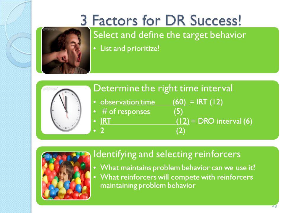 DRO 48 A Behavior1- absence of target R+:Behavior2 Extinction Less value r+ AntecedentBehaviorConsequence