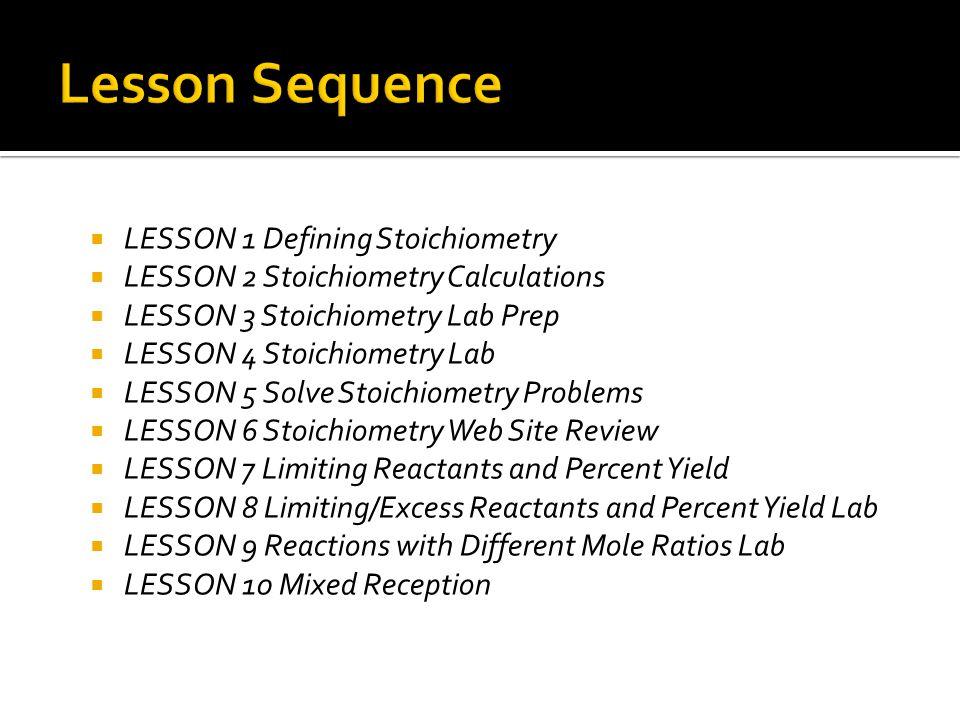 LESSON 1 Defining Stoichiometry LESSON 2 Stoichiometry Calculations LESSON 3 Stoichiometry Lab Prep LESSON 4 Stoichiometry Lab LESSON 5 Solve Stoichio