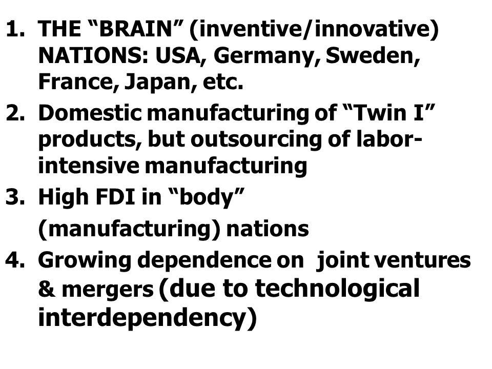 1.THE BRAIN (inventive/innovative) NATIONS: USA, Germany, Sweden, France, Japan, etc.