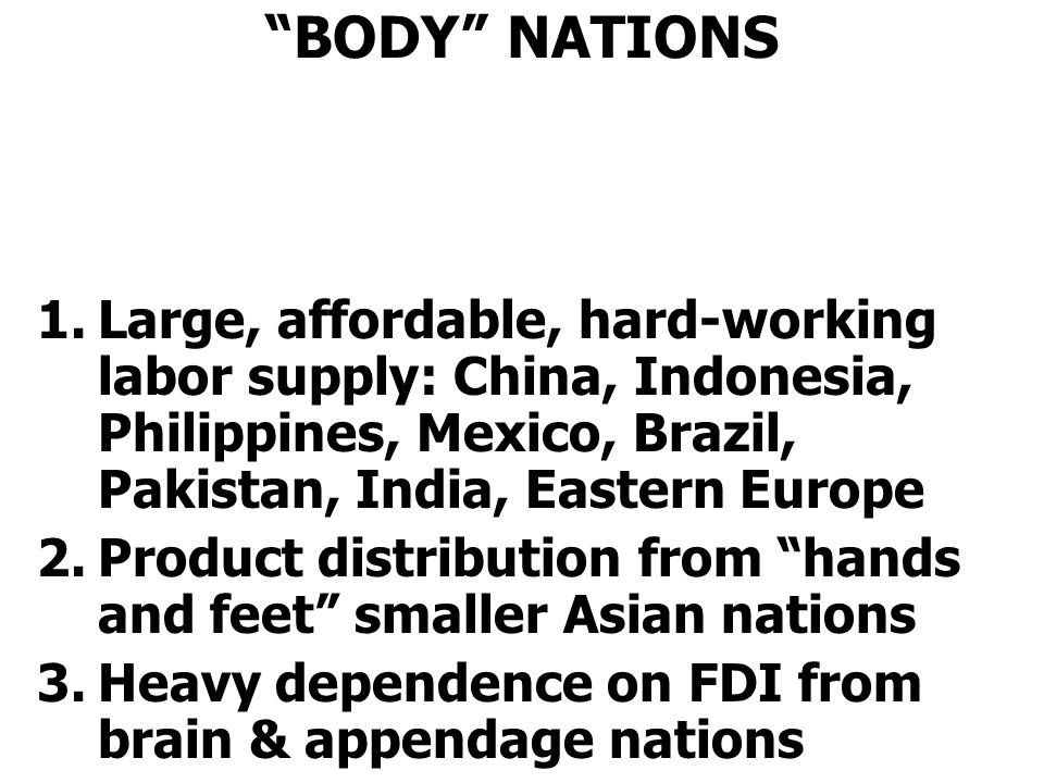 BODY NATIONS 1.Large, affordable, hard-working labor supply: China, Indonesia, Philippines, Mexico, Brazil, Pakistan, India, Eastern Europe 2.Product distribution from hands and feet smaller Asian nations 3.Heavy dependence on FDI from brain & appendage nations