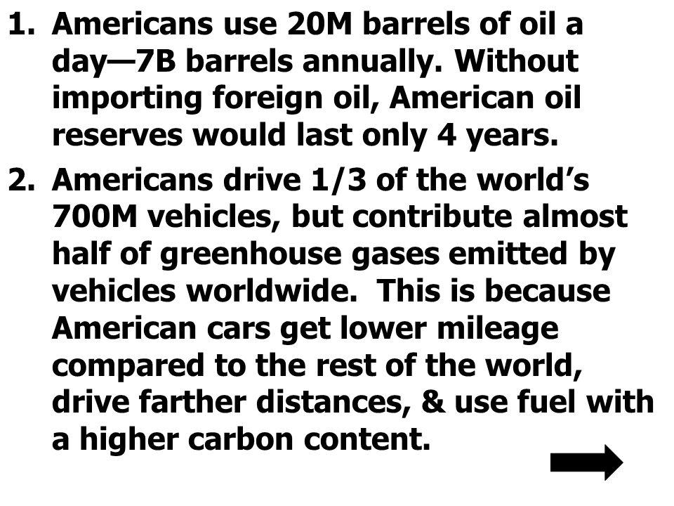1.Americans use 20M barrels of oil a day7B barrels annually.