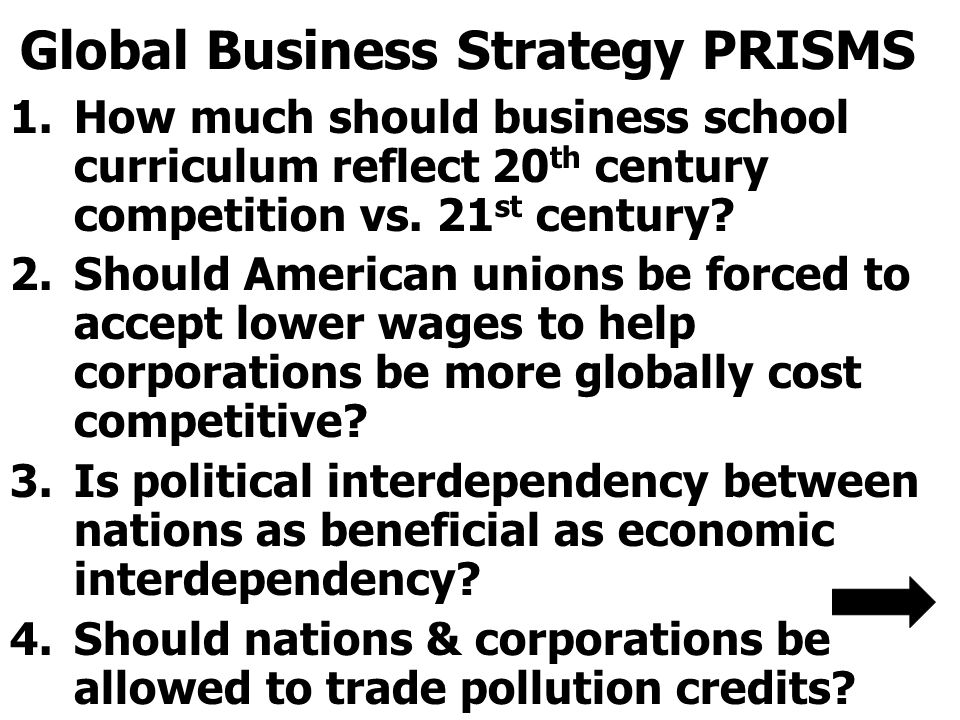 Global Business Strategy PRISMS 1.How much should business school curriculum reflect 20 th century competition vs.