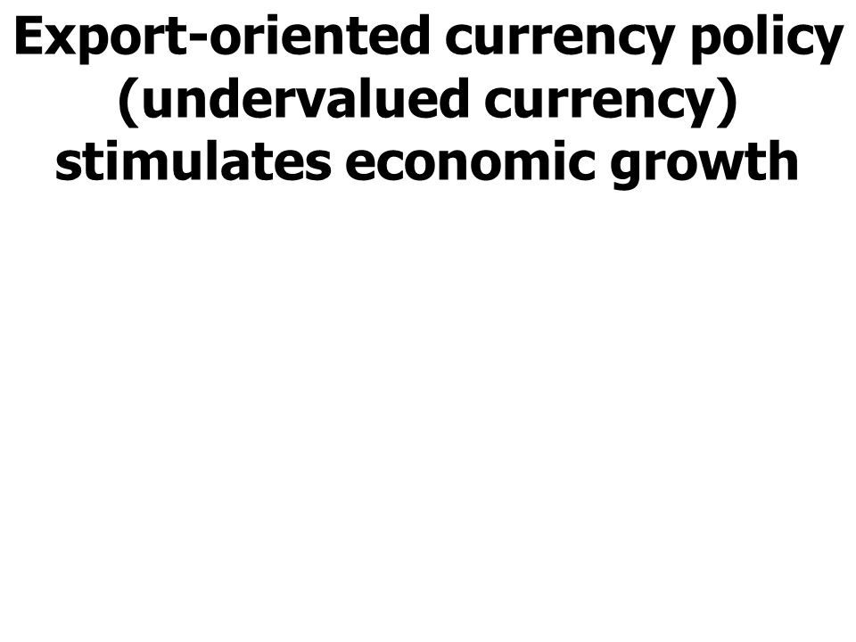 Export-oriented currency policy (undervalued currency) stimulates economic growth