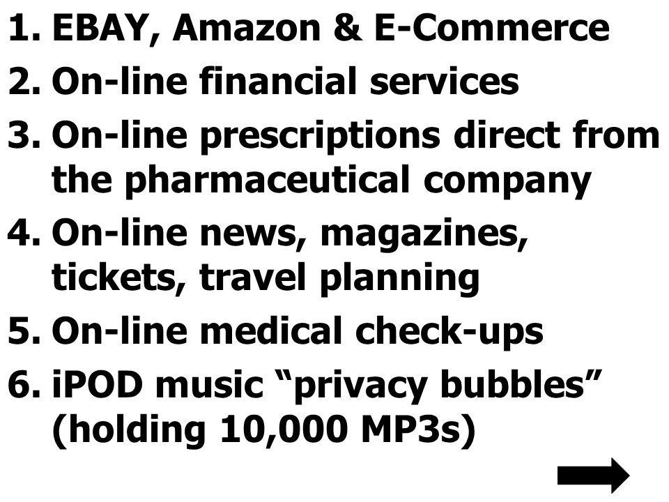 1.EBAY, Amazon & E-Commerce 2.On-line financial services 3.On-line prescriptions direct from the pharmaceutical company 4.On-line news, magazines, tickets, travel planning 5.On-line medical check-ups 6.iPOD music privacy bubbles (holding 10,000 MP3s)