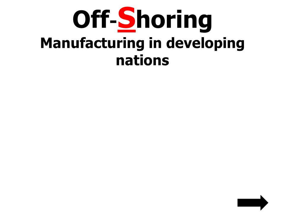 Off - S horing Manufacturing in developing nations