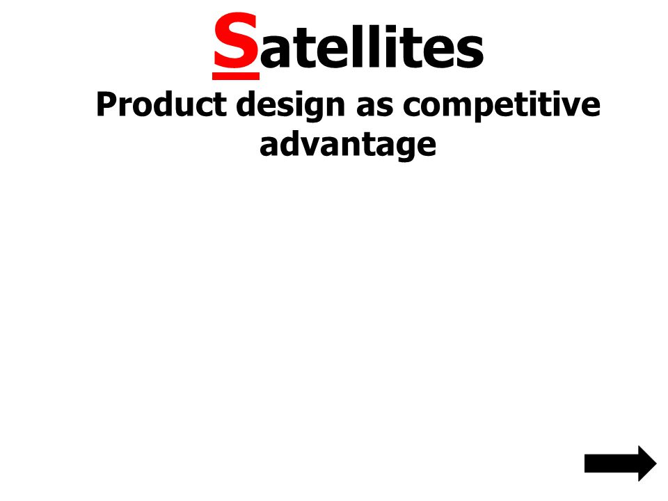 S atellites Product design as competitive advantage