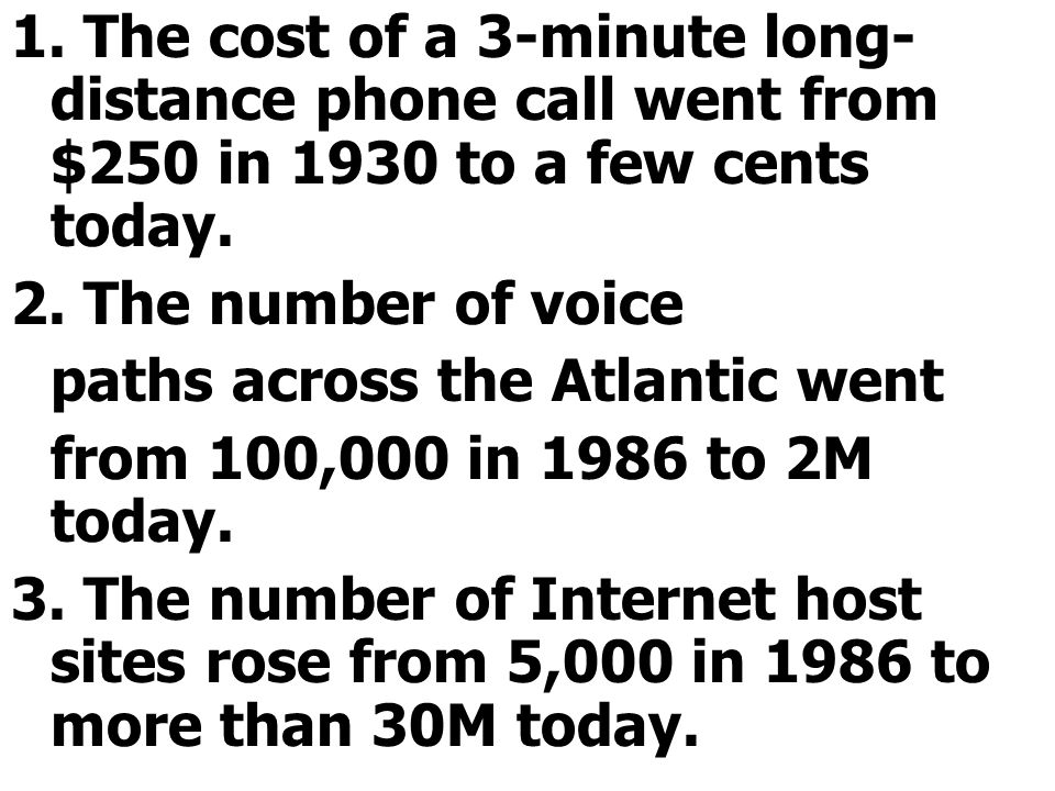 1.The cost of a 3-minute long- distance phone call went from $250 in 1930 to a few cents today.