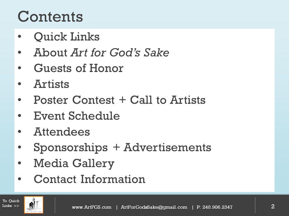 53 To Quick Links >> www.ArtFGS.com | ArtForGodsSake@gmail.com | P: 248.906.2347 Schedule| Saturday Evening | May 4, 2013