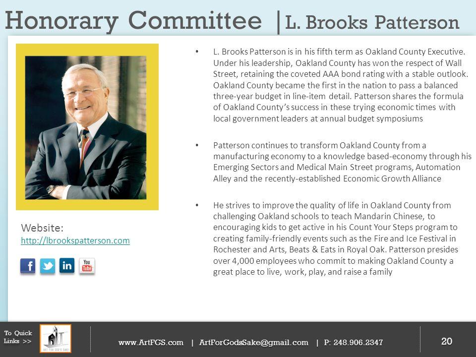 Honorary Committee | L. Brooks Patterson 20 To Quick Links >> www.ArtFGS.com | ArtForGodsSake@gmail.com | P: 248.906.2347 L. Brooks Patterson is in hi
