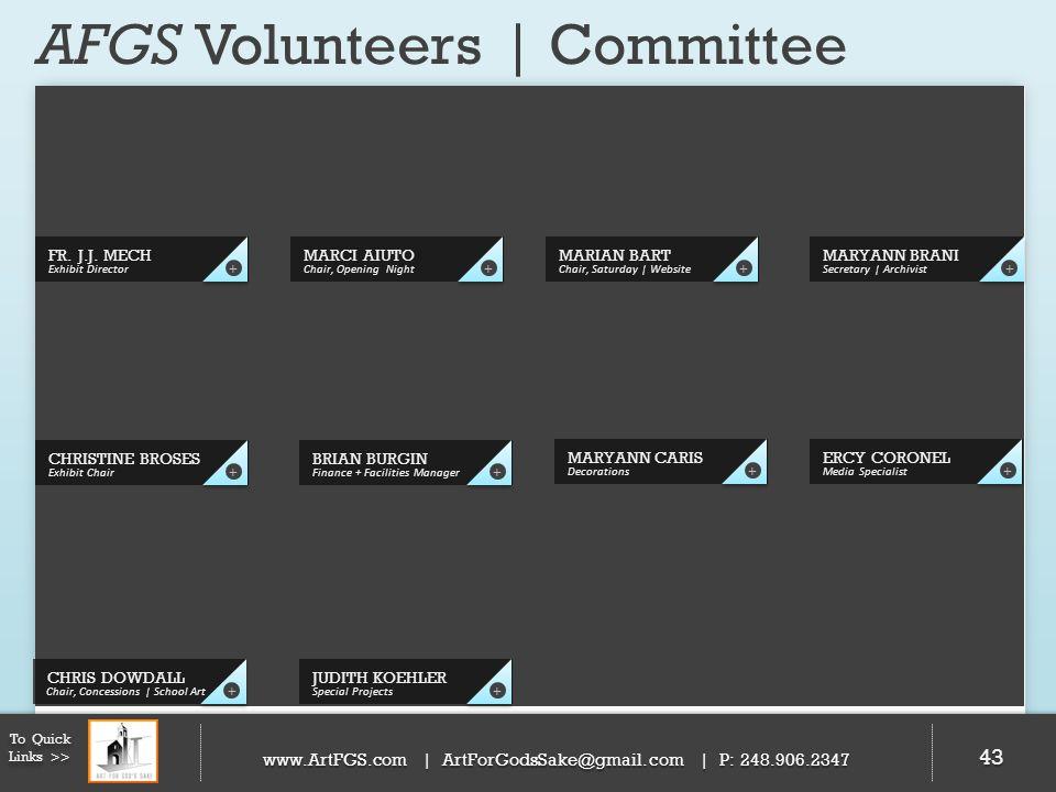 AFGS Volunteers | Committee 43 FR. J.J. MECH Exhibit Director + CHRISTINE BROSES Exhibit Chair + MARIAN BART Chair, Saturday | Website + MARYANN BRANI