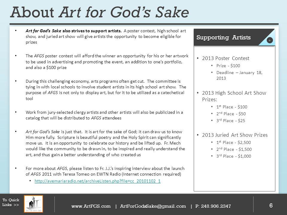 2011 Recap 77 To Quick Links >> www.ArtFGS.com | ArtForGodsSake@gmail.com | P: 248.906.2347 Over 1,200 attendees A portion of proceeds were donated to St.