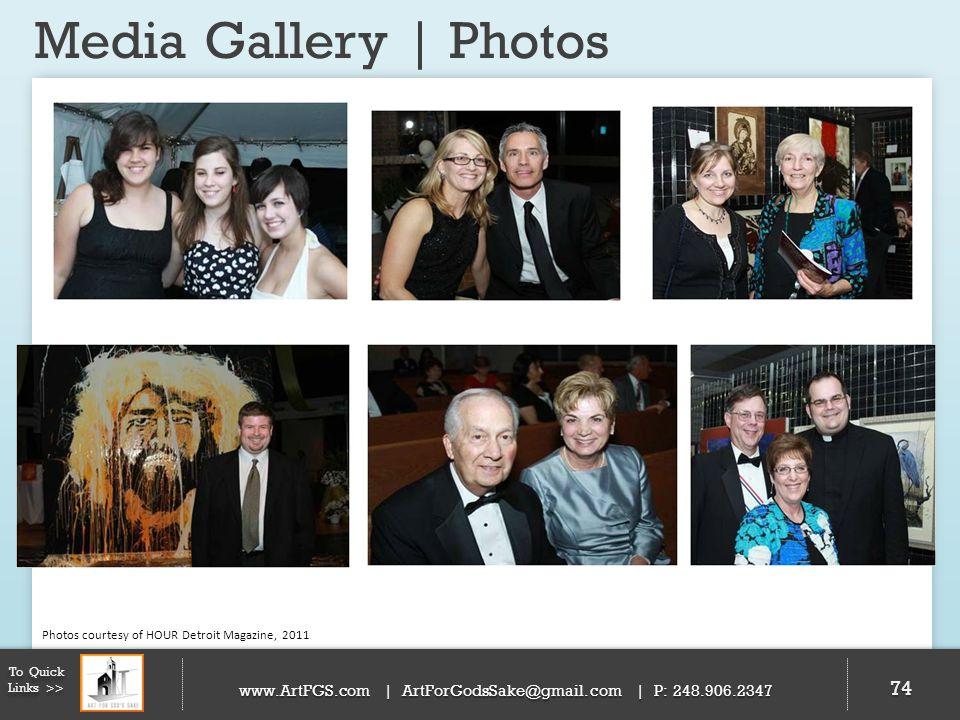 Media Gallery | Photos 74 To Quick Links >> www.ArtFGS.com | ArtForGodsSake@gmail.com | P: 248.906.2347 Photos courtesy of HOUR Detroit Magazine, 2011