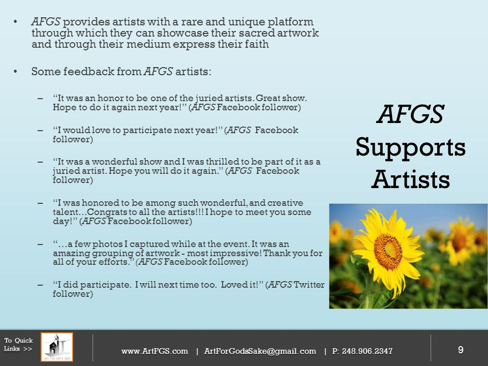 EVENT SCHEDULE 50 To Quick Links >> www.ArtFGS.com | ArtForGodsSake@gmail.com | P: 248.906.2347 50