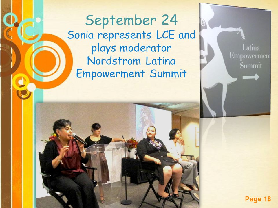 Free Powerpoint Templates Page 18 September 24 Sonia represents LCE and plays moderator Nordstrom Latina Empowerment Summit
