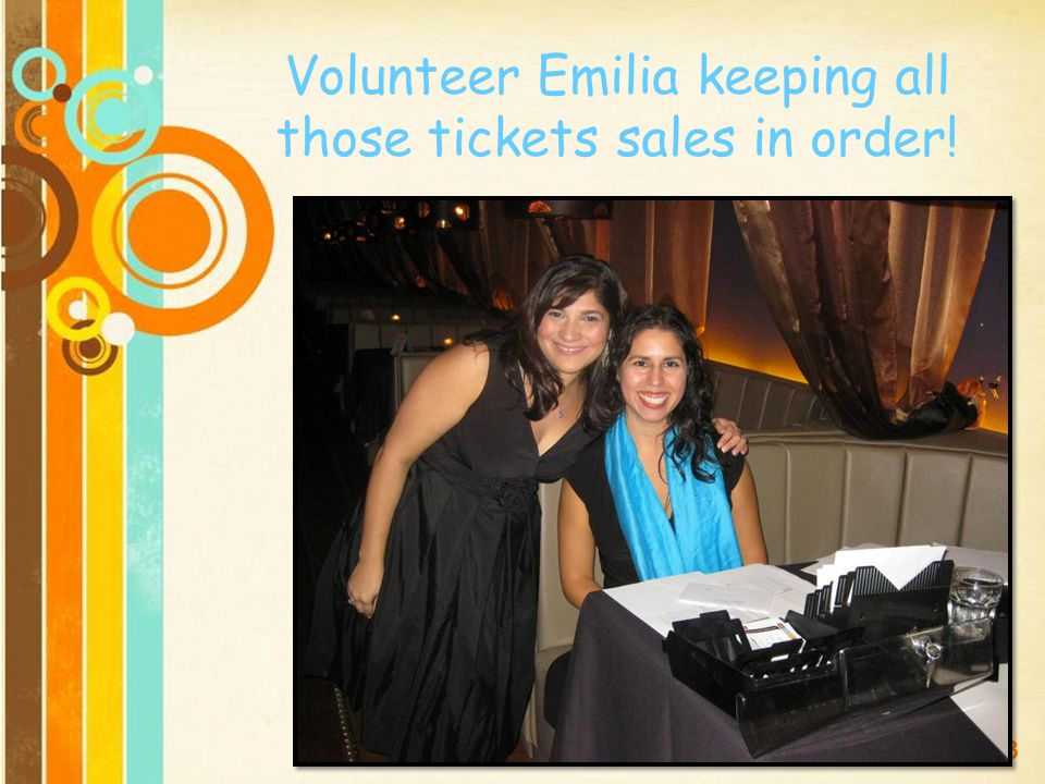 Free Powerpoint Templates Page 23 Volunteer Emilia keeping all those tickets sales in order!