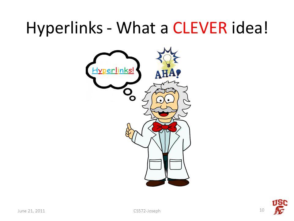 Hyperlinks - What a CLEVER idea! CS572-Joseph 10 June 21, 2011