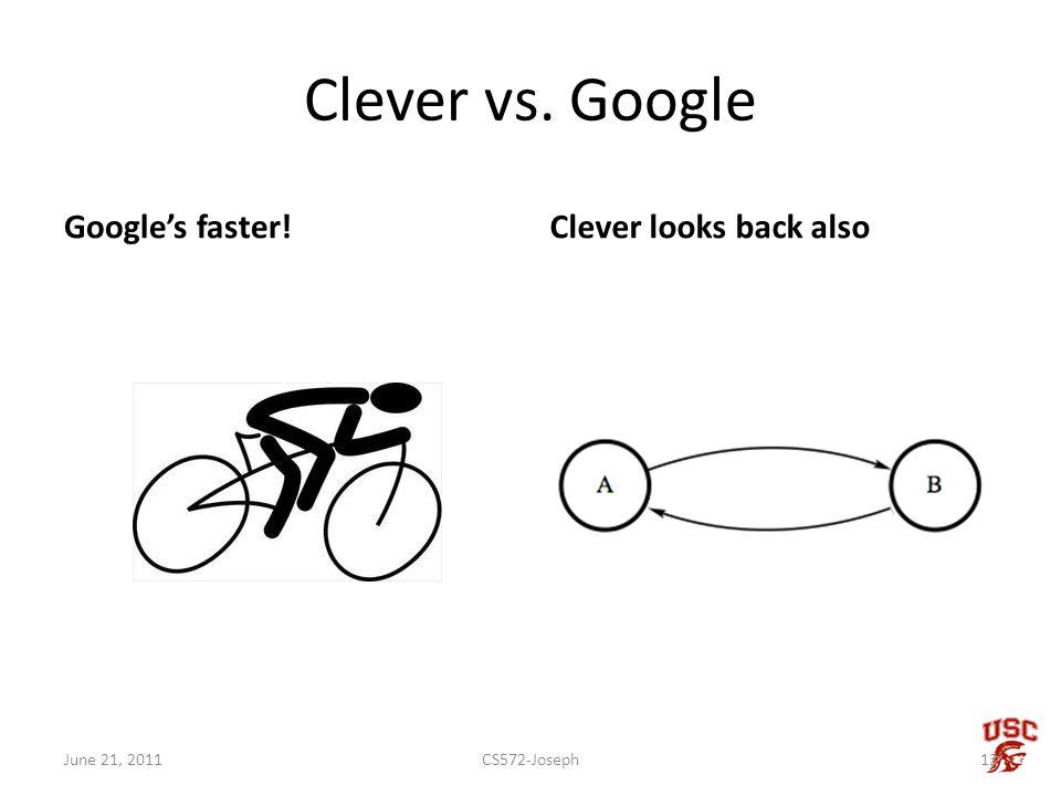 Clever vs. Google Googles faster!Clever looks back also CS572-Joseph13June 21, 2011