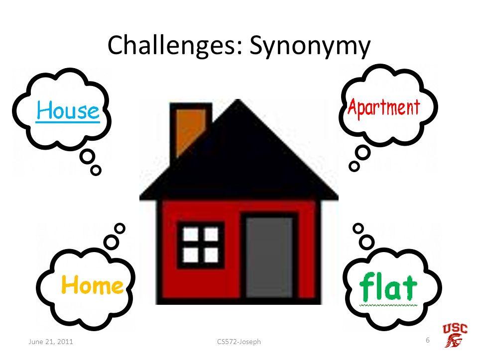 Challenges: Synonymy CS572-Joseph 6 June 21, 2011